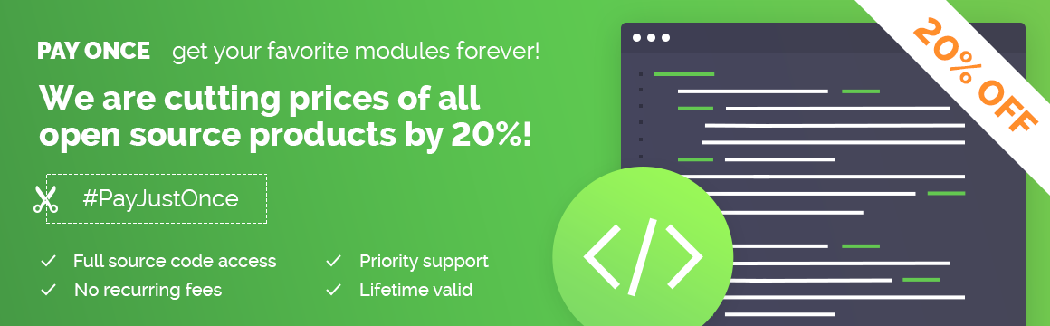 20% Discount on Open Source Products by ModulesGarden