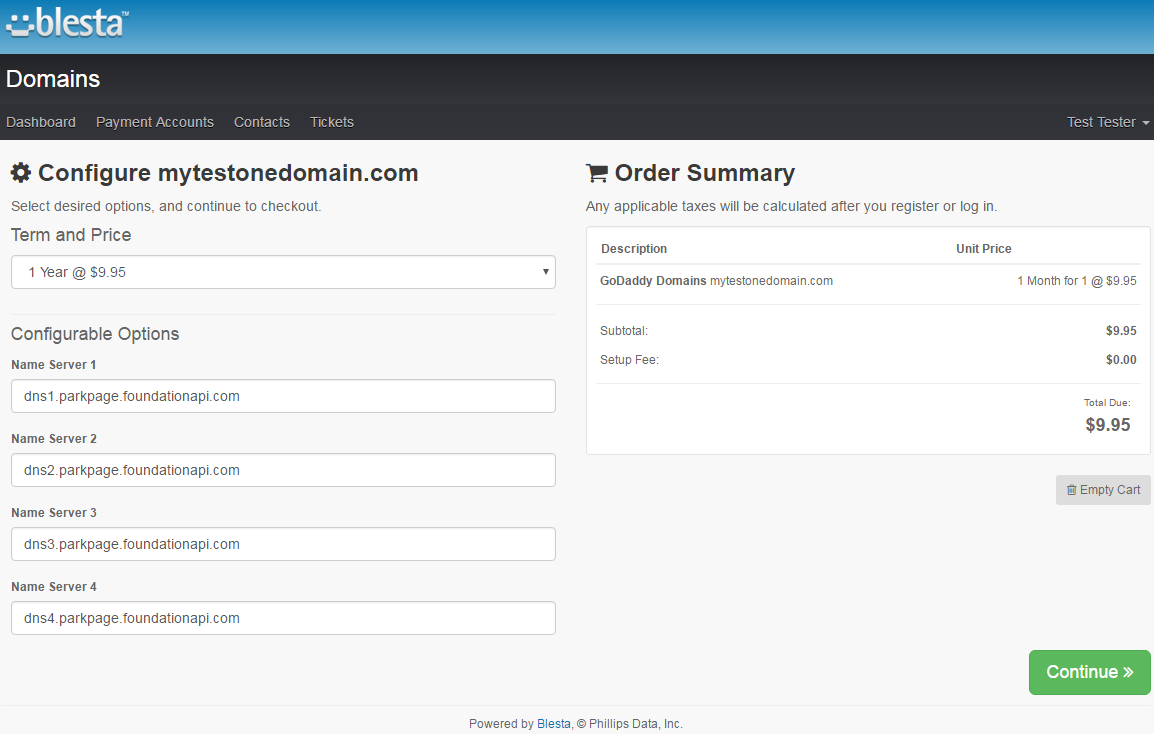 GoDaddy Domain Registrar For Blesta: Screen 2