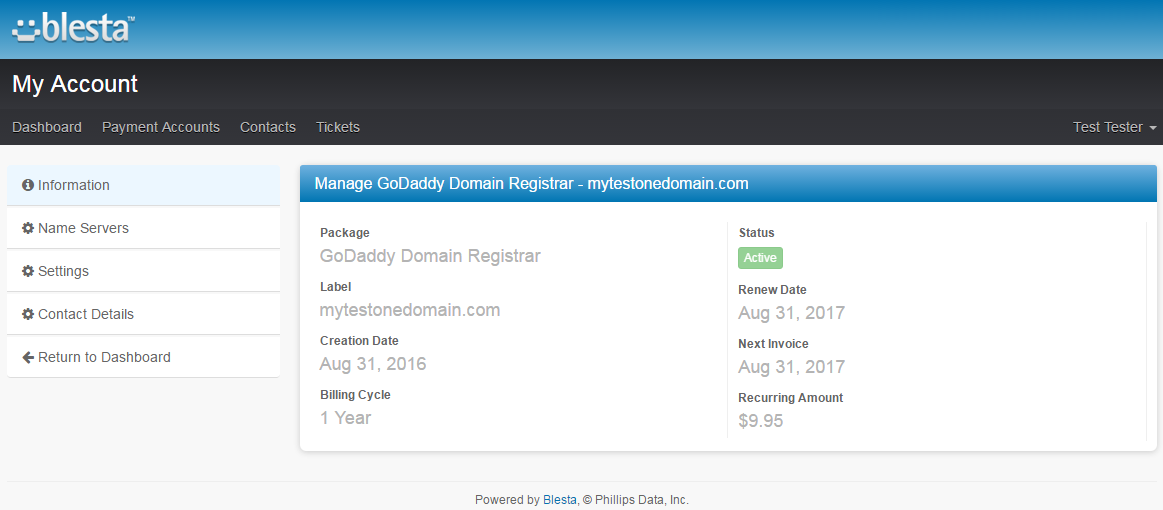 GoDaddy Domain Registrar For Blesta: Screen 3