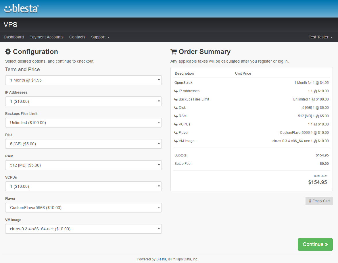 OpenStack VPS For Blesta: Screen 7
