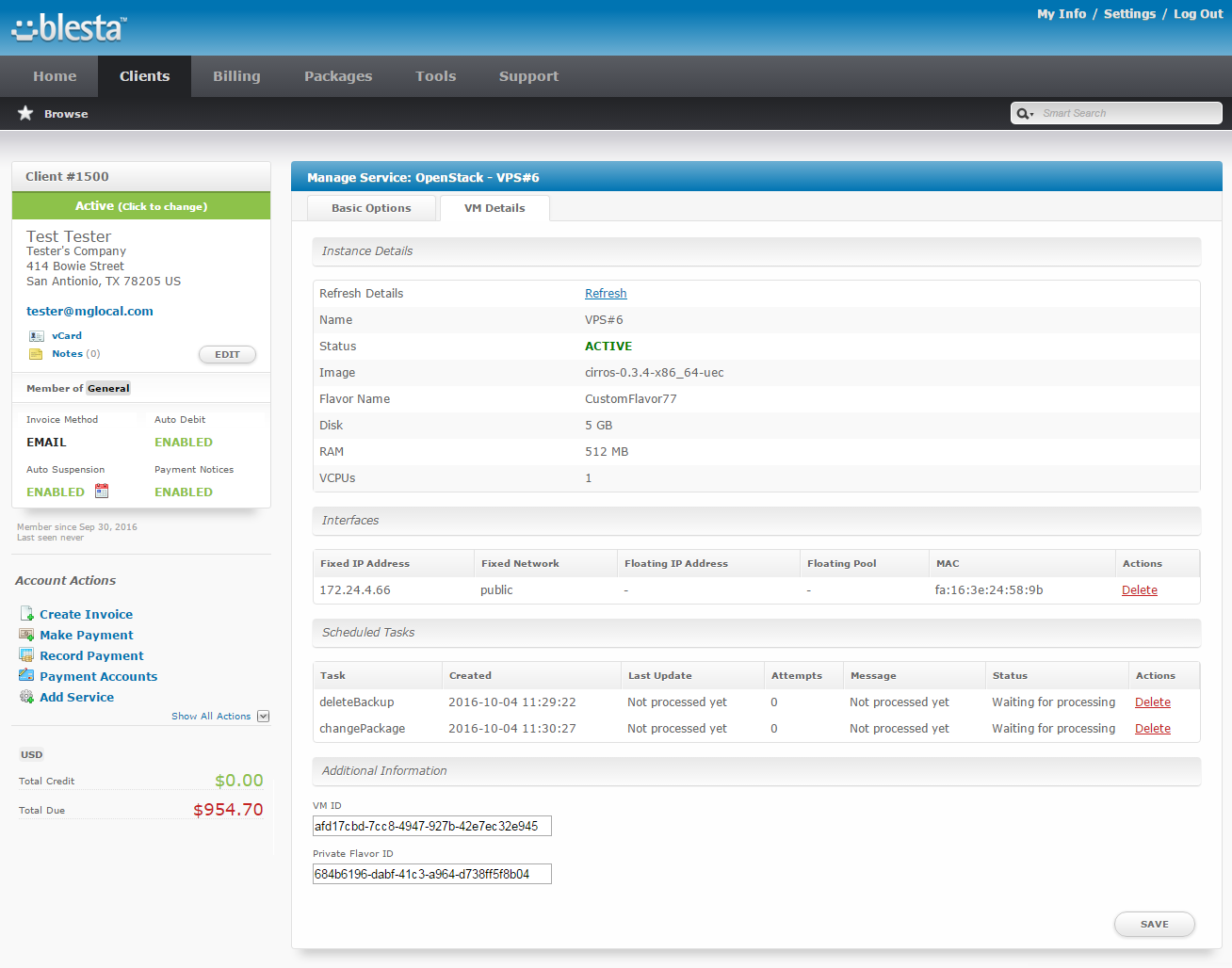 OpenStack VPS For Blesta: Screen 9