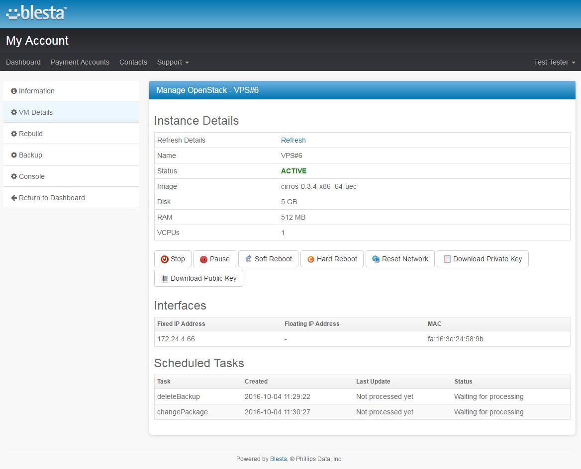 OpenStack VPS For Blesta: Screen 2