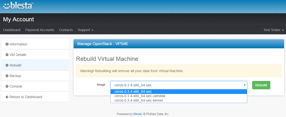 OpenStack VPS For Blesta: Screen 3