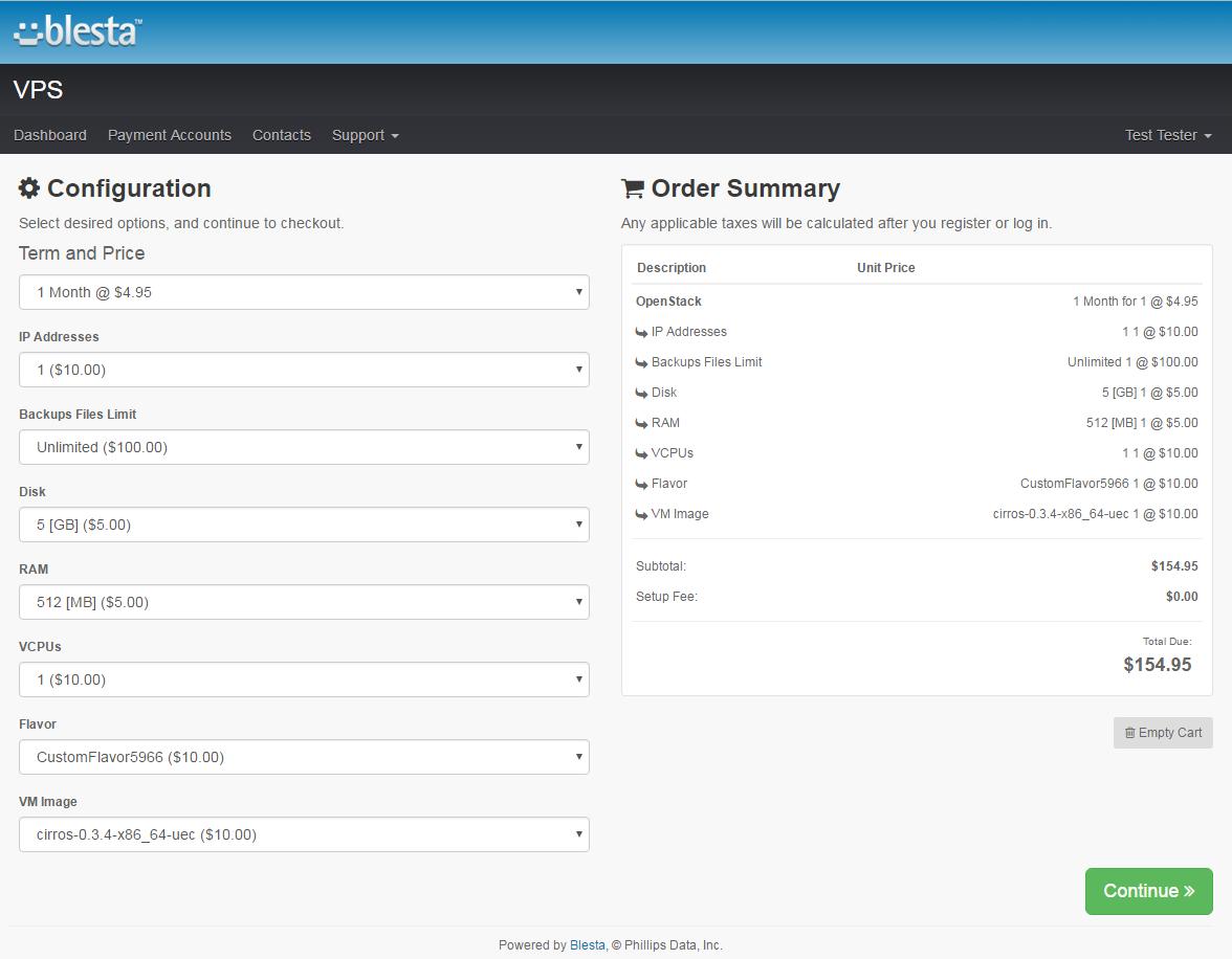 OpenStack VPS For Blesta: Screen 7