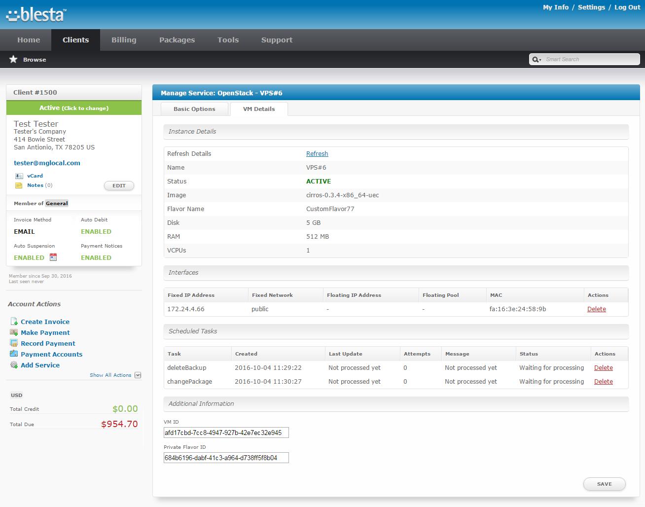 OpenStack VPS For Blesta: Screen 9