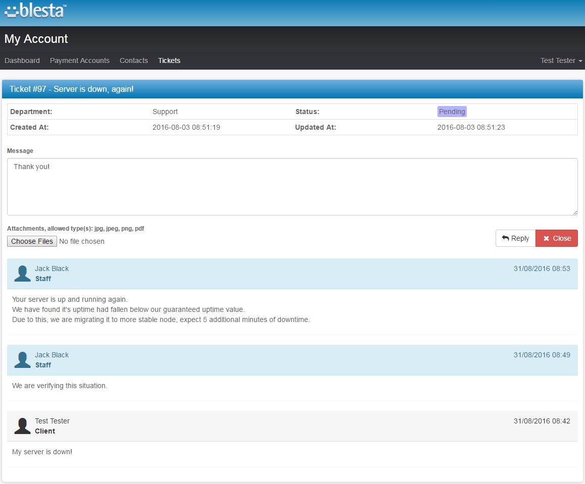 Zendesk For Blesta: Screen 1