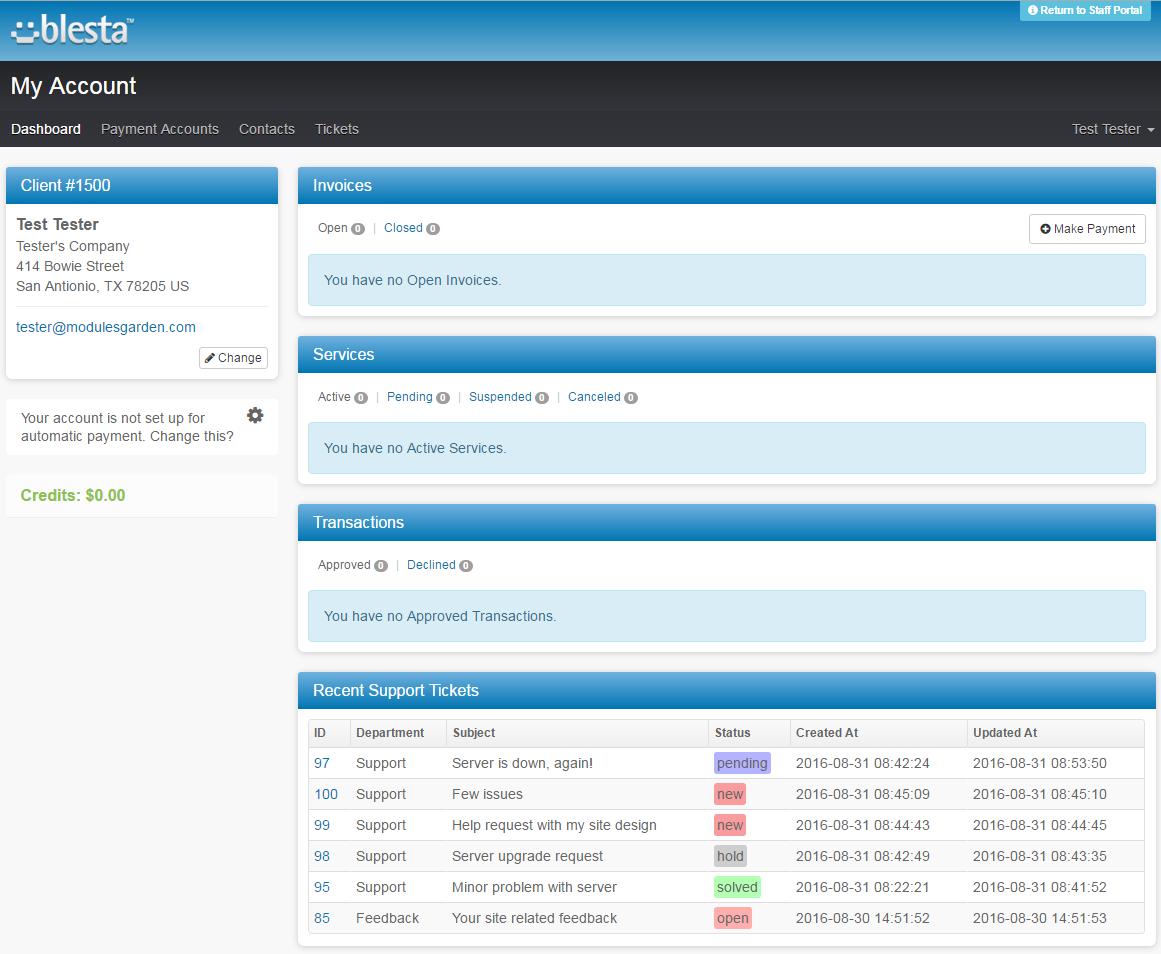 Zendesk For Blesta: Screen 2