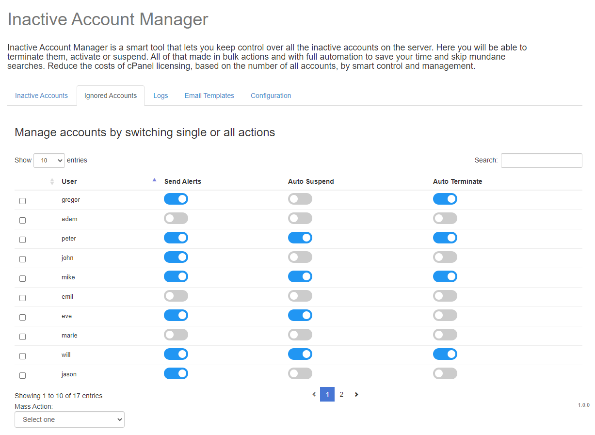 Inactive Account Manager For cPanel: Extension Screenshot 2