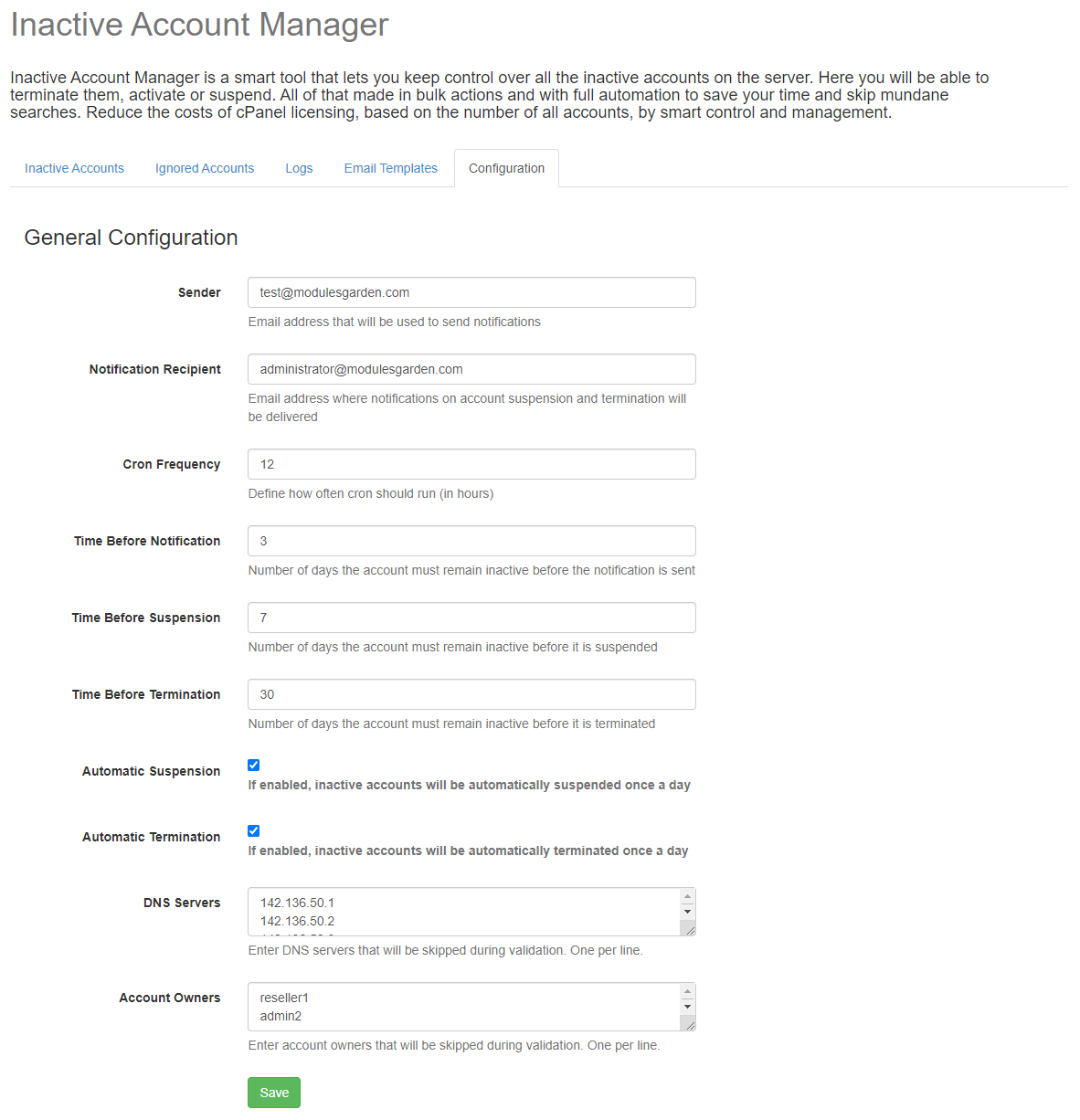 Inactive Account Manager For cPanel: Extension Screenshot 5