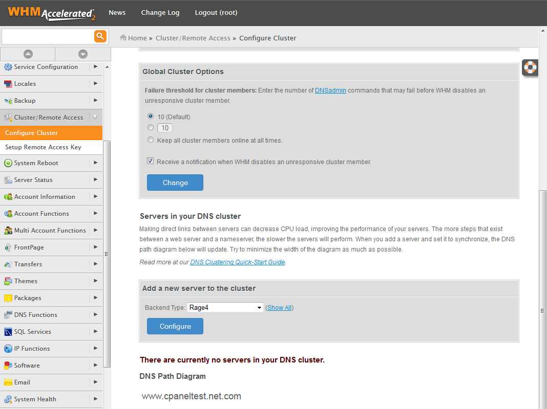 Rage4 For cPanel: Screen 1