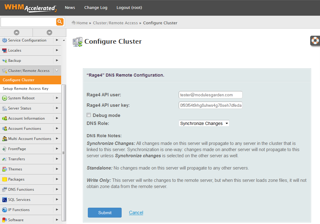 Rage4 For cPanel: Screen 2