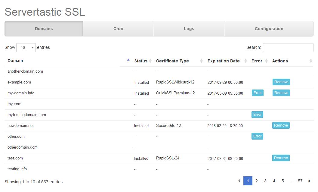 Servertastic SSL For cPanel: Screen 5