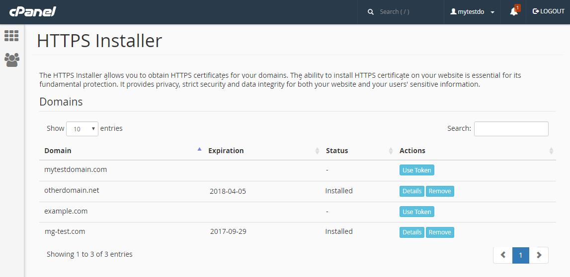Servertastic SSL For cPanel: Screen 1