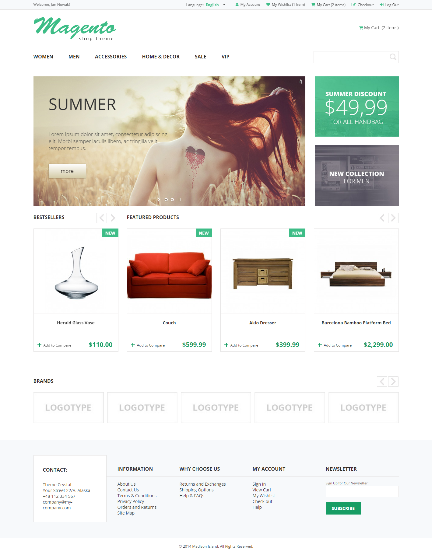 Crystal - Theme For Magento: Screen 1