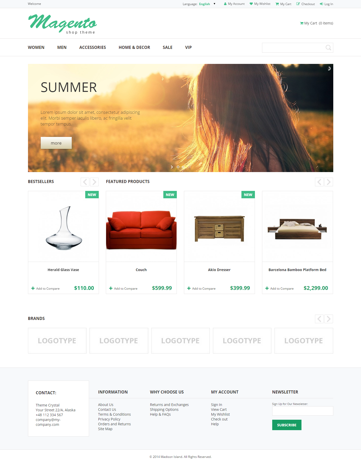 Crystal - Theme For Magento: Screen 2
