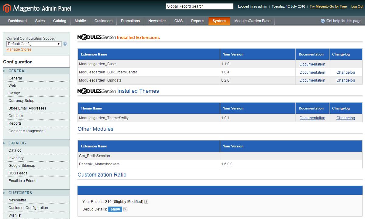 ModulesGarden Base For Magento: Screen 3