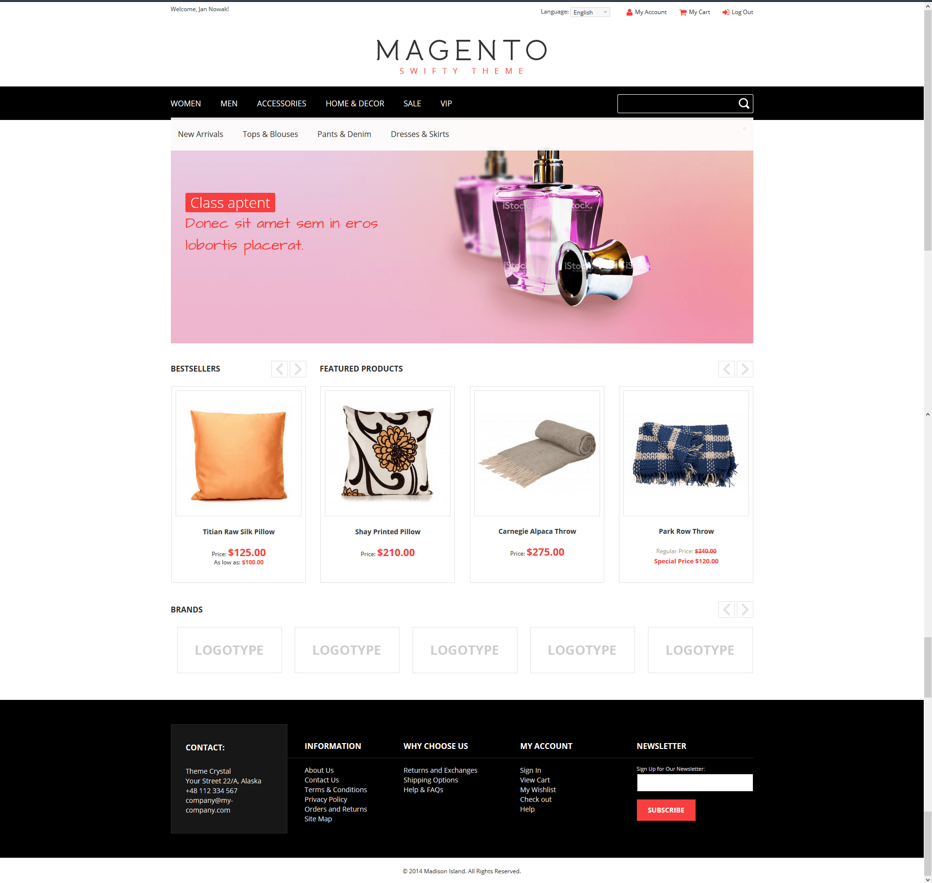 Swifty - Theme For Magento: Screen 2
