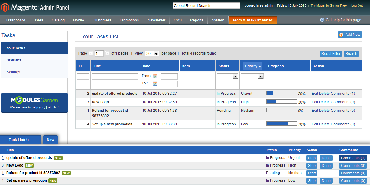 Team & Task Organizer For Magento: Screen 1