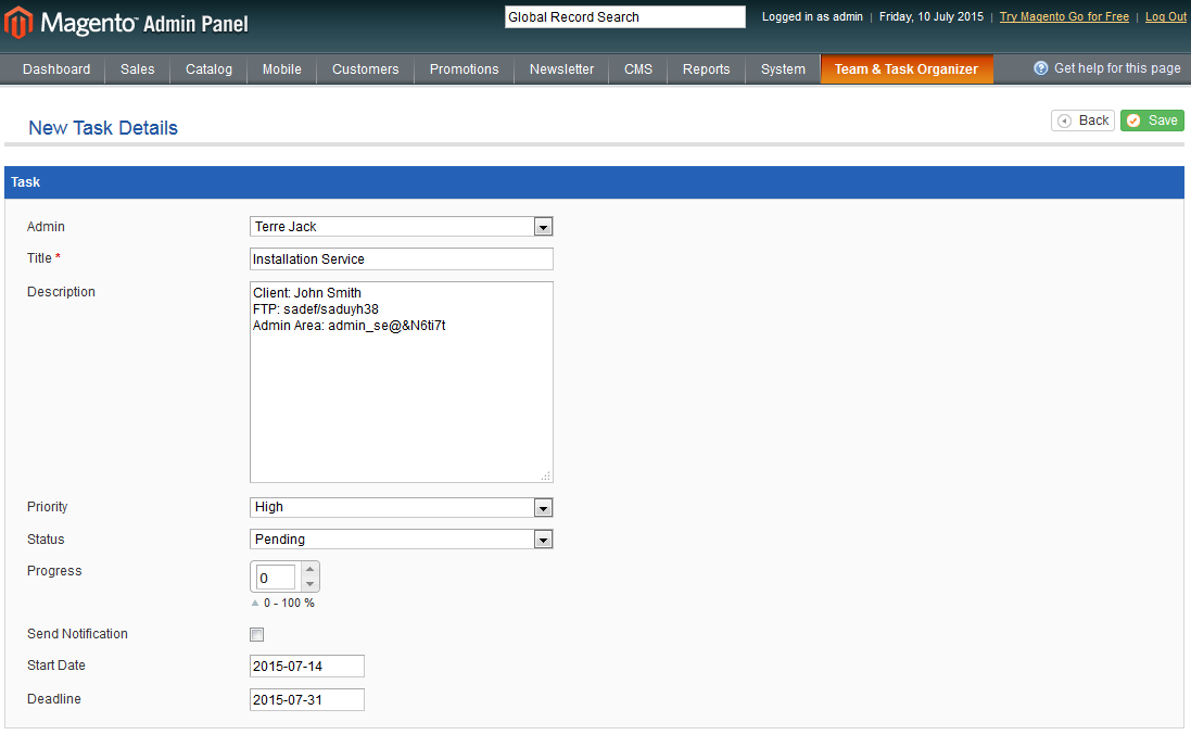 Team & Task Organizer For Magento: Screen 2