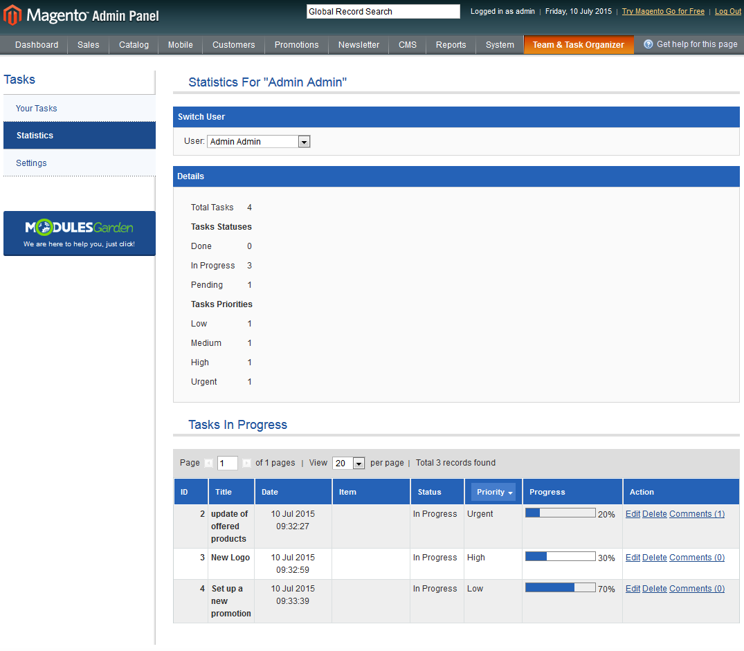 Team & Task Organizer For Magento: Screen 3
