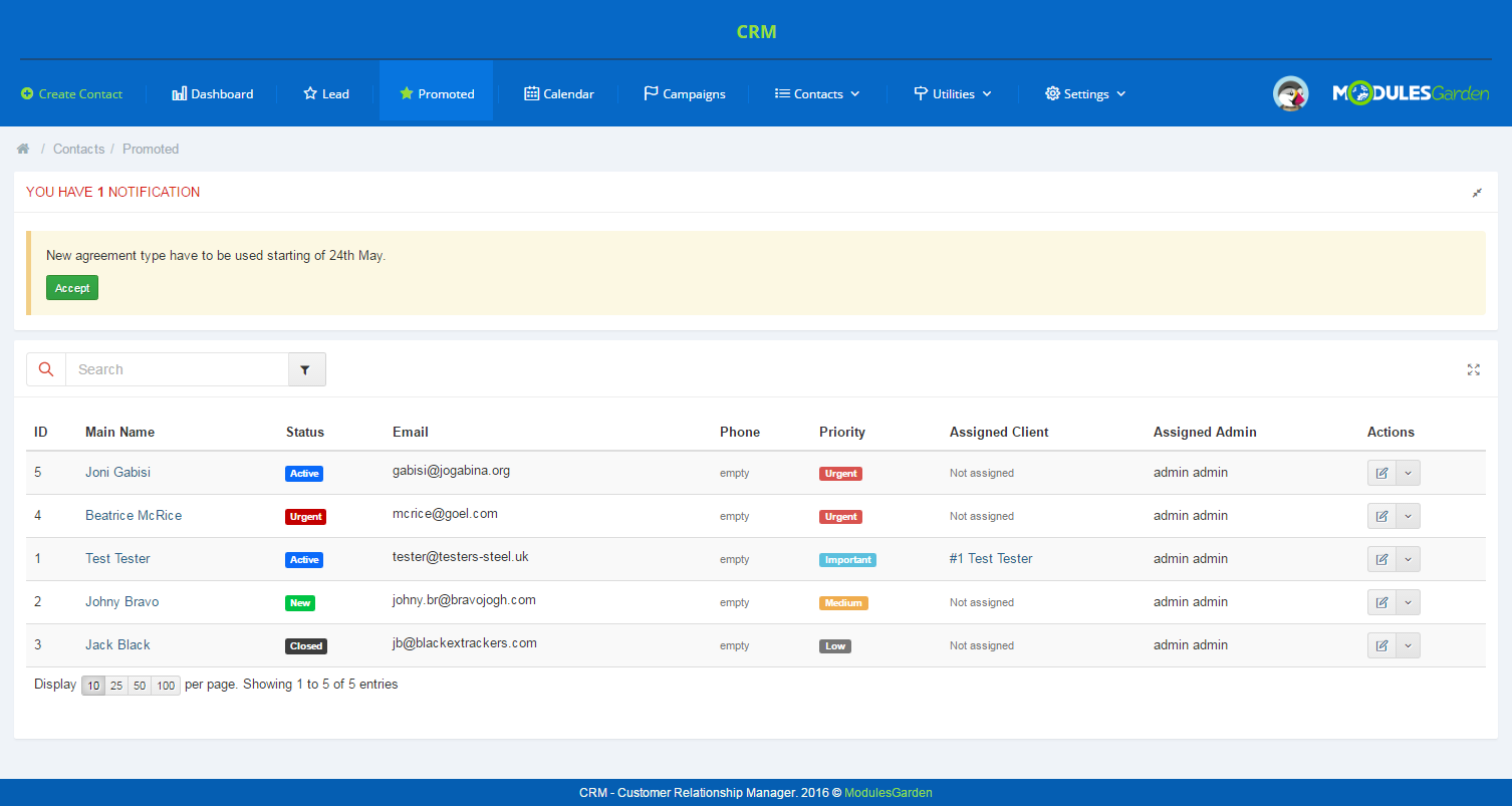 CRM For PrestaShop: Screen 3