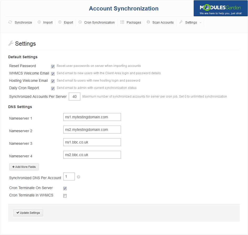 Account Synchronization For WHMCS: Screen 7