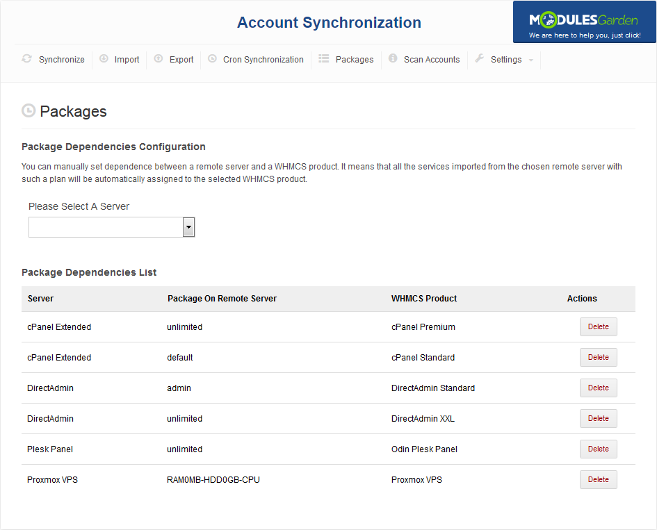 Account Synchronization For WHMCS: Screen 5