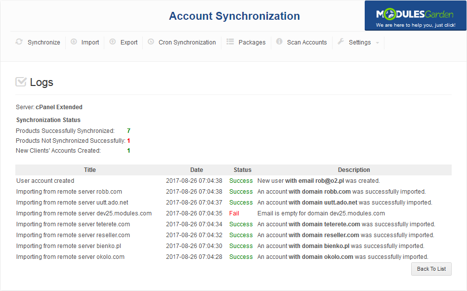 Account Synchronization For WHMCS: Screen 10