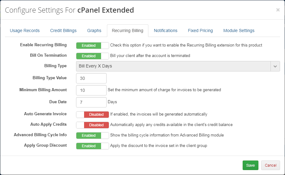 Advanced Billing For WHMCS: Module Screenshot 11