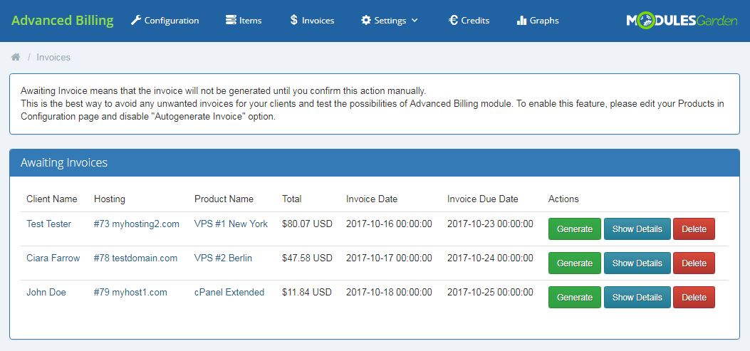 Advanced Billing For WHMCS: Module Screenshot 17