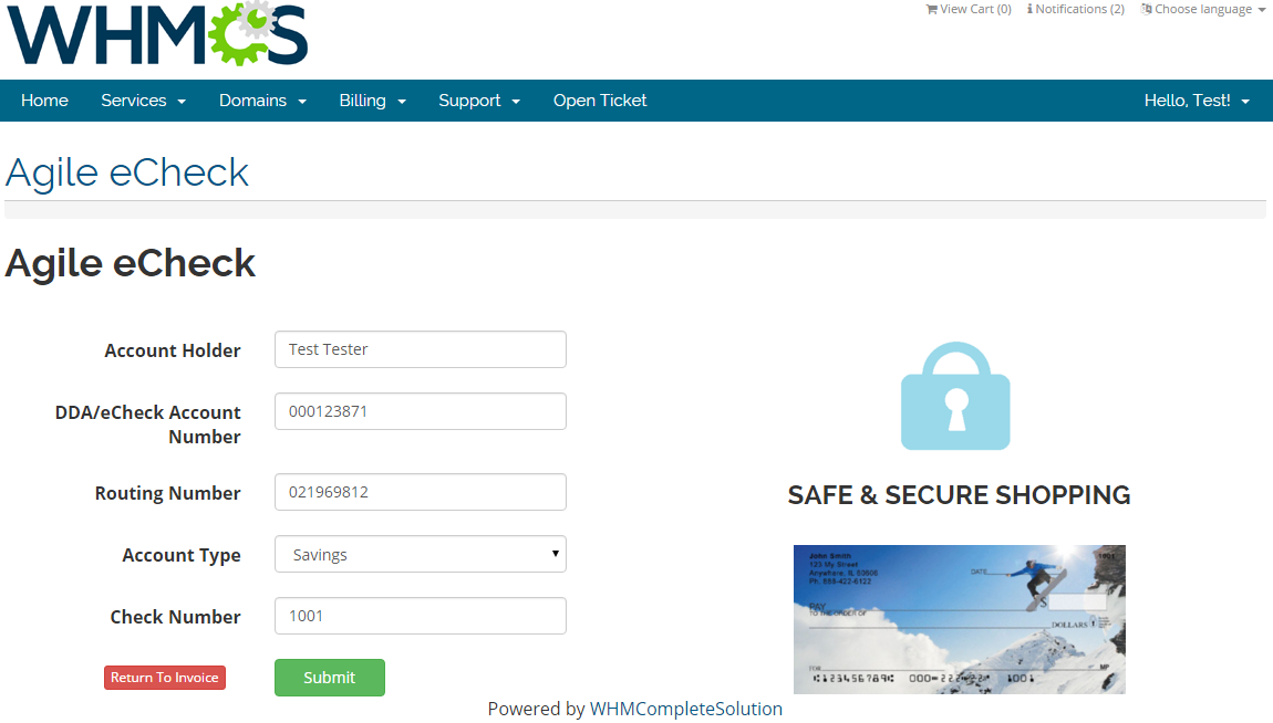Agile Payment Gateway For WHMCS: Screen 2