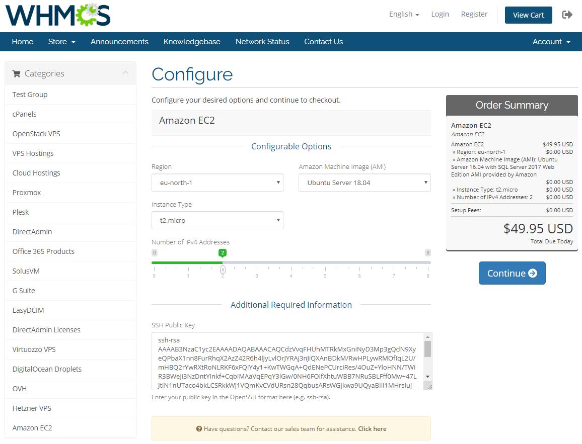 Amazon EC2 For WHMCS: Module Screenshot 2