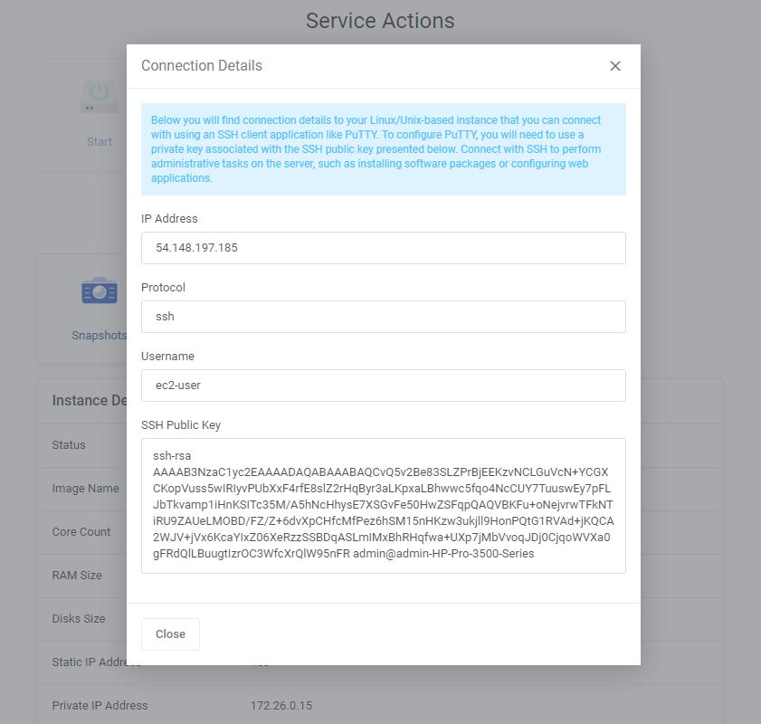 Amazon Lightsail For WHMCS: Module Screenshot 2