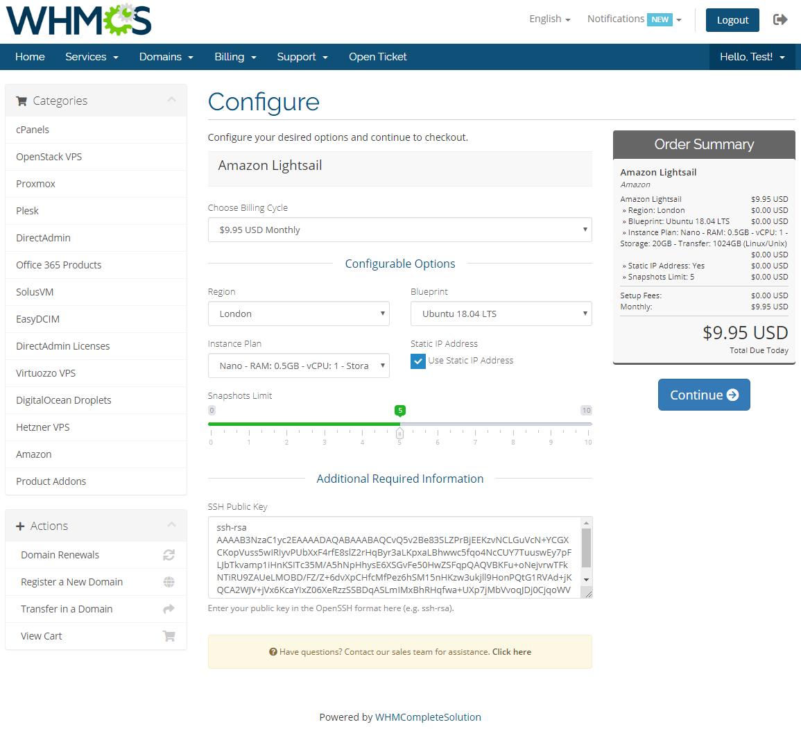 Amazon Lightsail For WHMCS: Module Screenshot 8