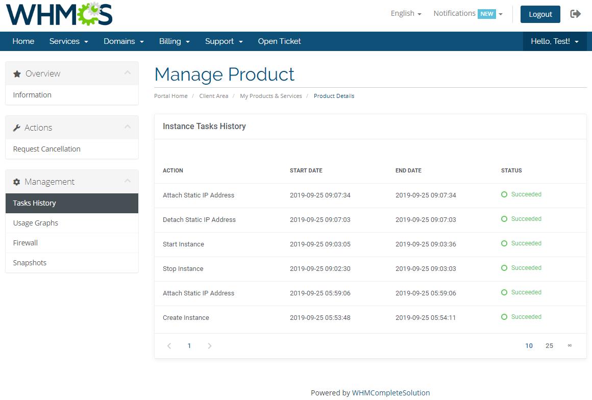 Amazon Lightsail For WHMCS: Module Screenshot 3