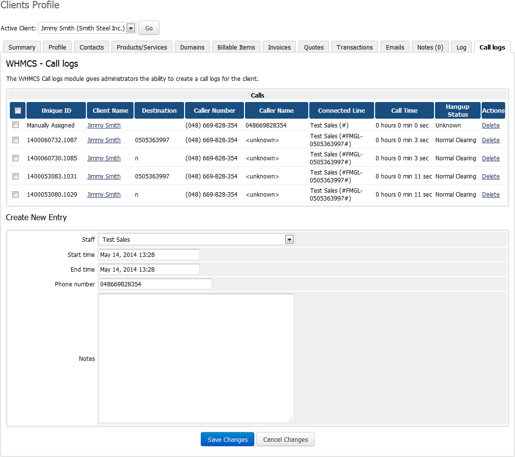 Asterisk VoIP Center For WHMCS: Screen 10
