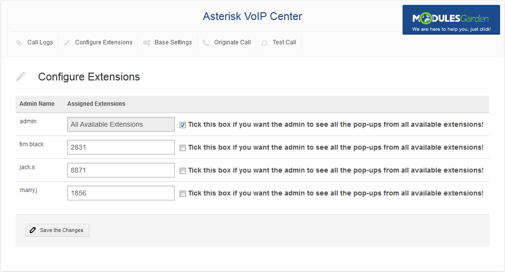 Asterisk VoIP Center For WHMCS: Screen 4