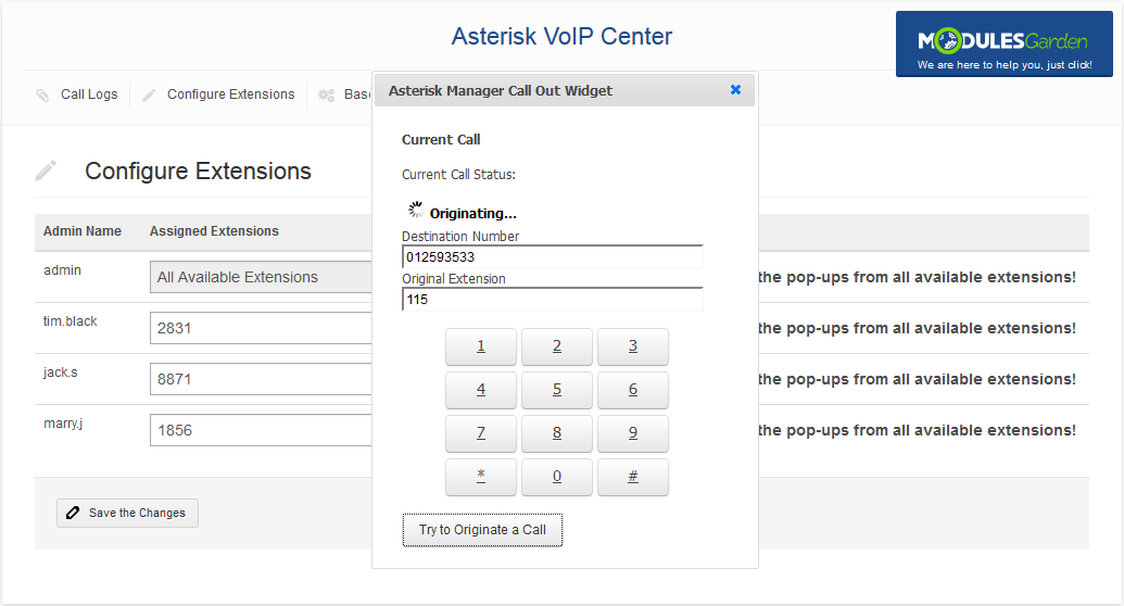 Asterisk VoIP Center For WHMCS: Screen 5