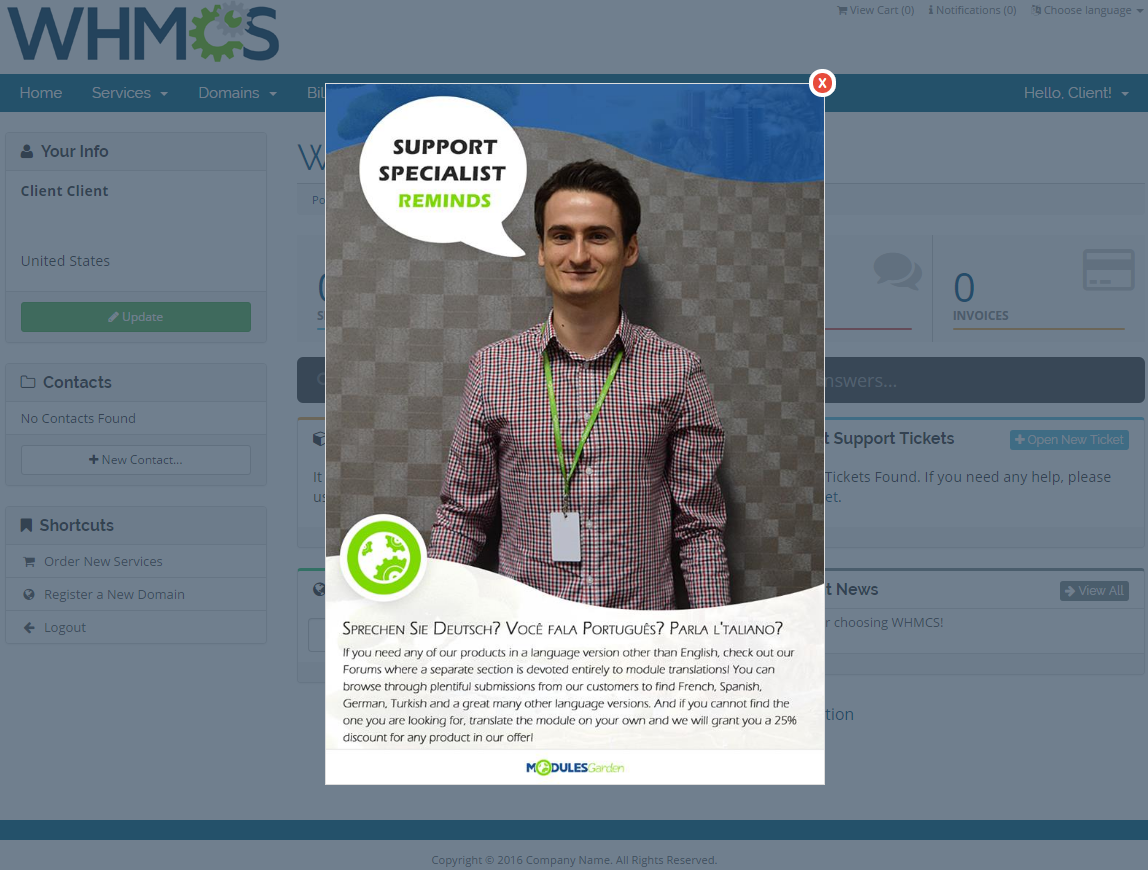 Client Area Popup For WHMCS: Screen 1