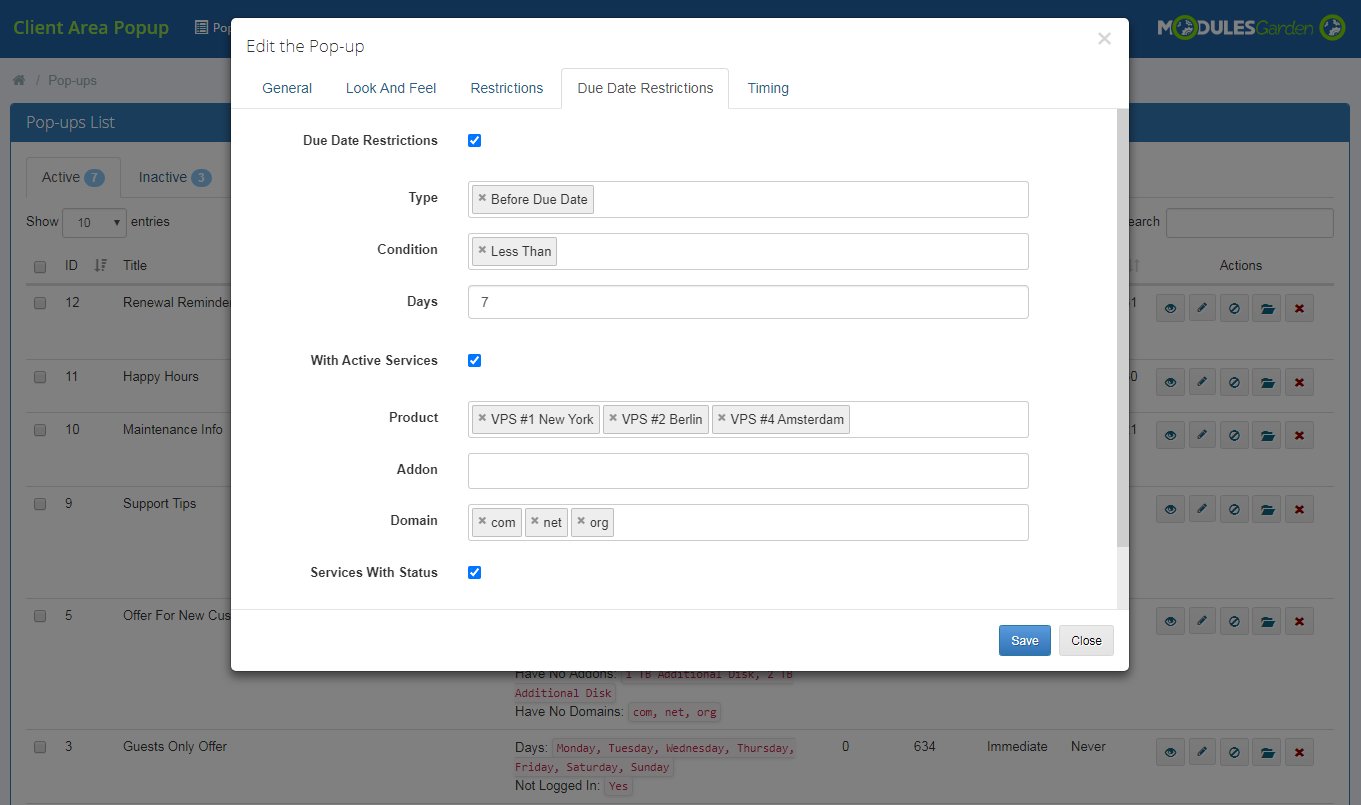 Client Area Popup For WHMCS: Module Screenshot 11