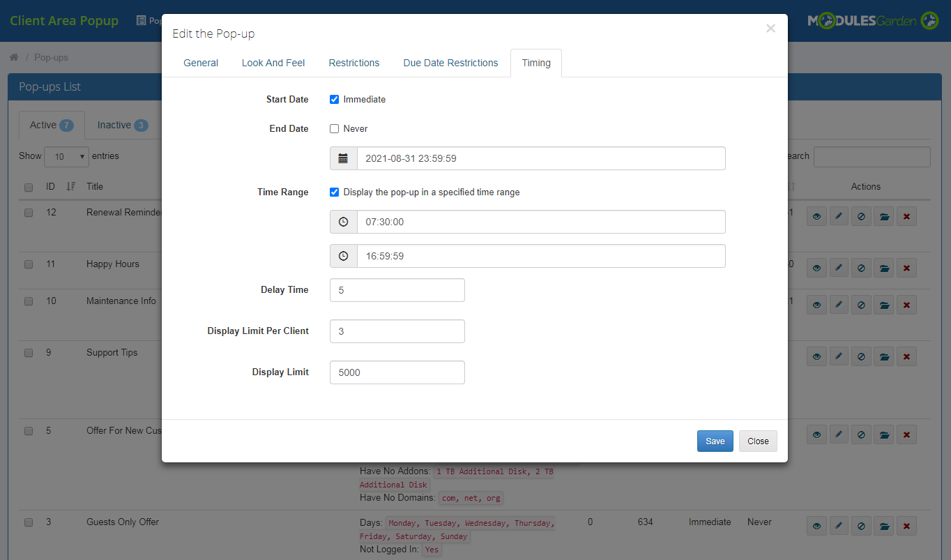 Client Area Popup For WHMCS: Module Screenshot 12