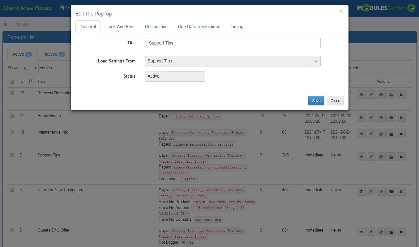 Client Area Popup For WHMCS: Module Screenshot 6