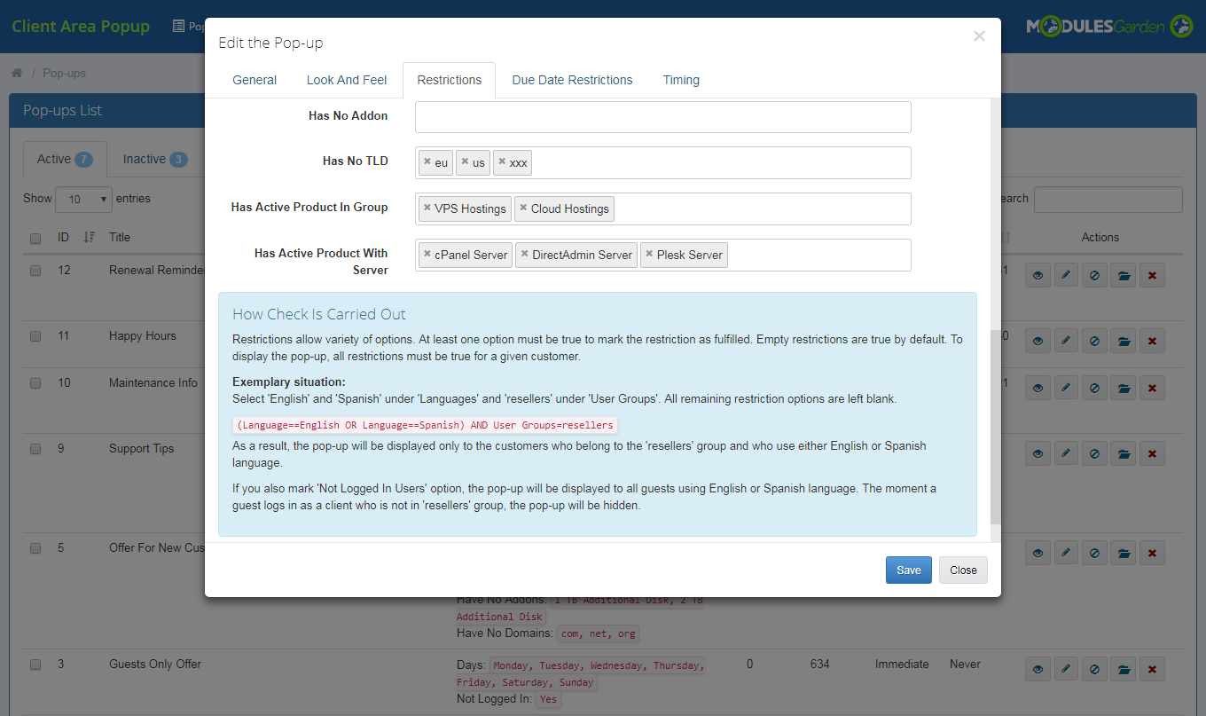 Client Area Popup For WHMCS: Module Screenshot 10