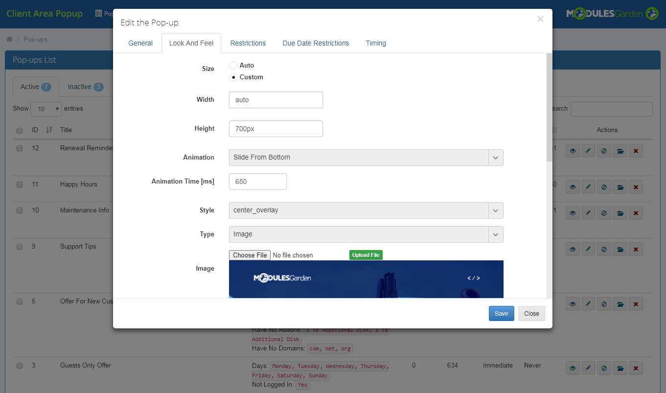Client Area Popup For WHMCS: Module Screenshot 7