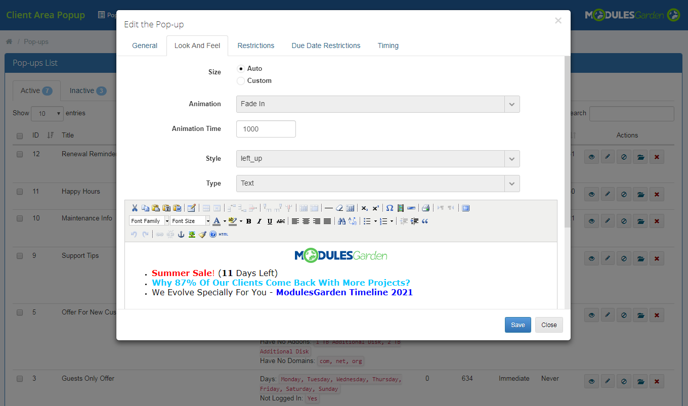 Client Area Popup For WHMCS: Module Screenshot 8
