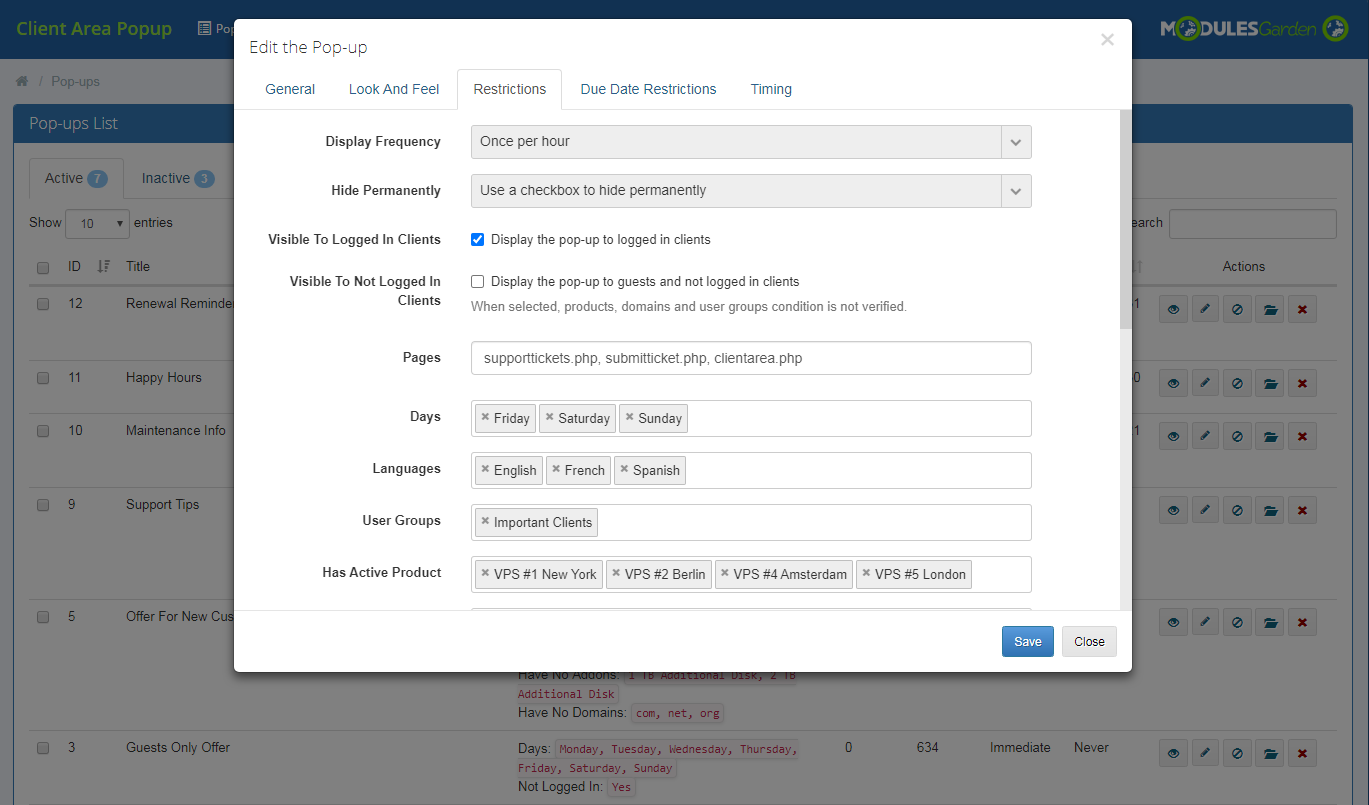 Client Area Popup For WHMCS: Module Screenshot 9