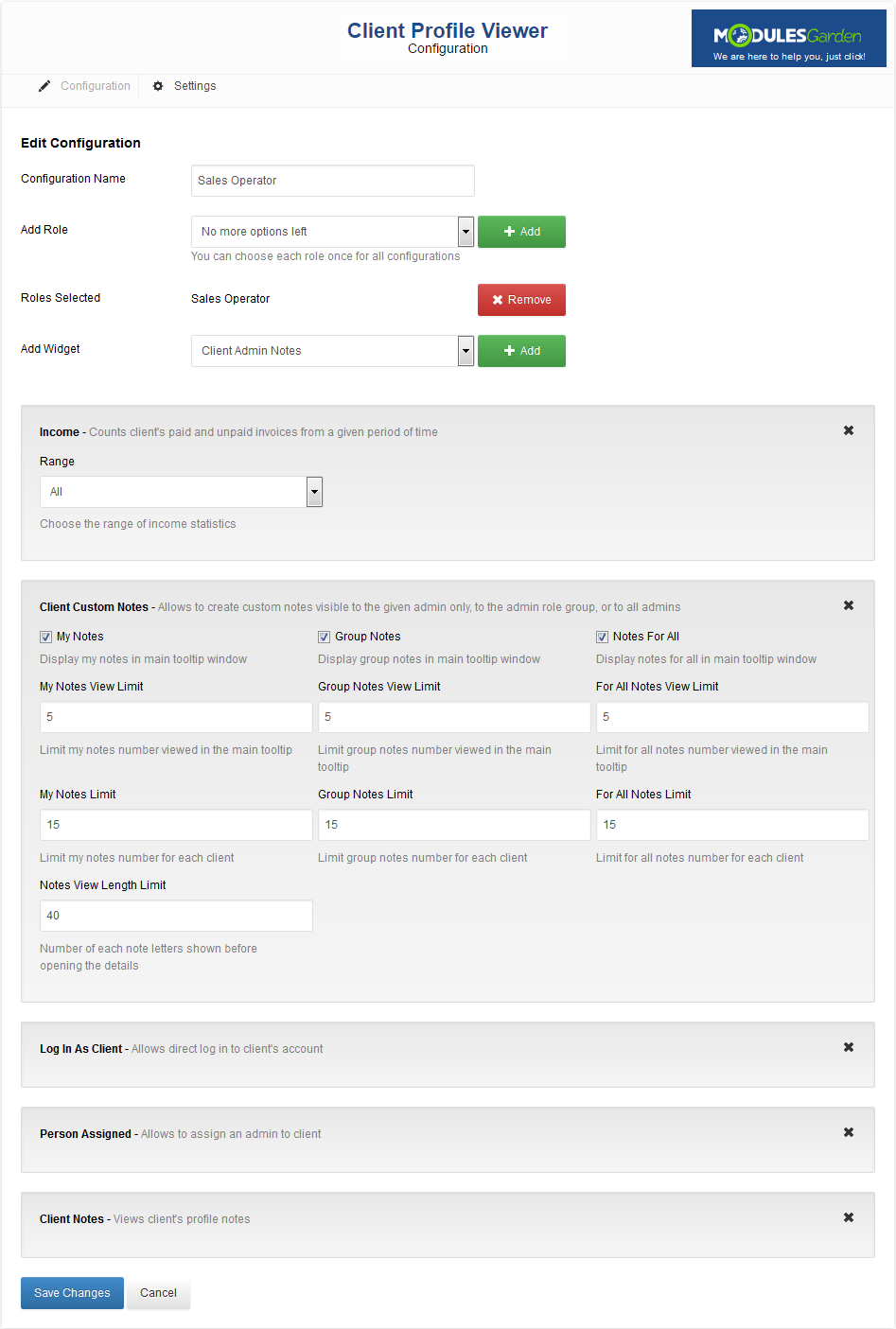 Client Profile Viewer For WHMCS: Screen 7