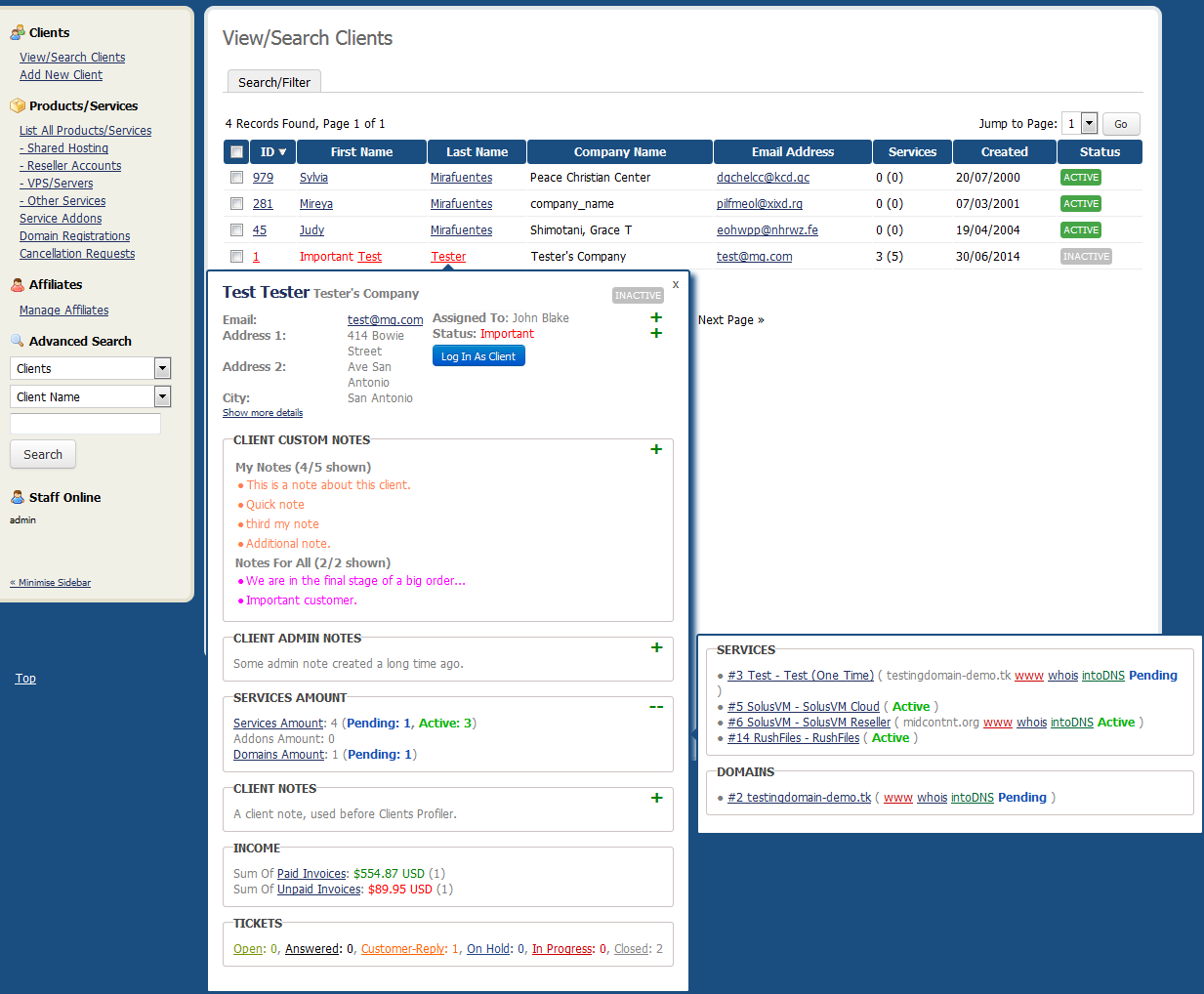 Client Profile Viewer For WHMCS: Screen 2