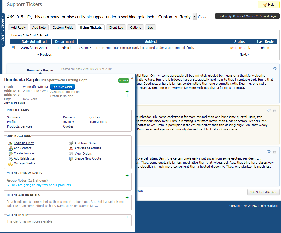 Client Profile Viewer For WHMCS: Screen 4