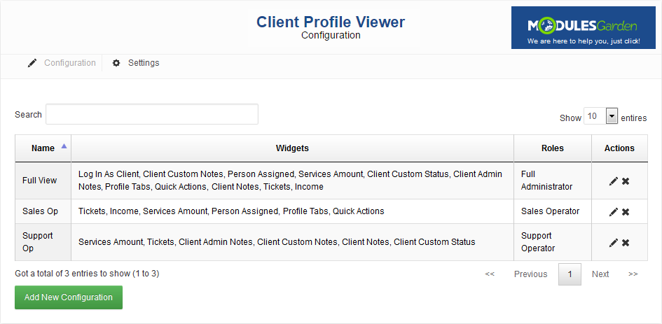 Client Profile Viewer For WHMCS: Screen 5